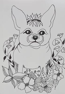 Drawing - Tangled Frenchie by Maria Urso