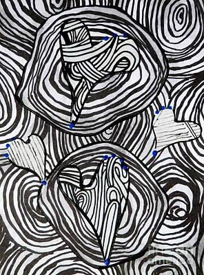 Mixed Media - Tangled Hearts by L Cecka