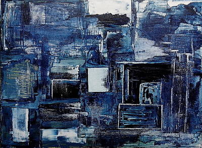 Wall Art - Painting - Tangled In Blue by Linda Wimberly