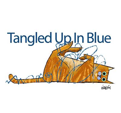 Cats And Dogs Digital Art - Tangled Up In Blue by Trevor Irvin