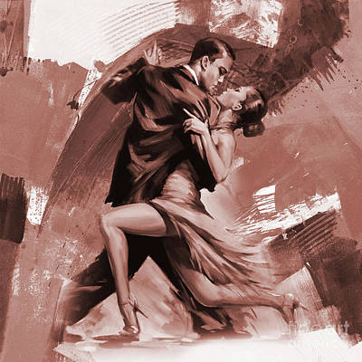 Painting - Tango Couple Dance 0054 by Gull G