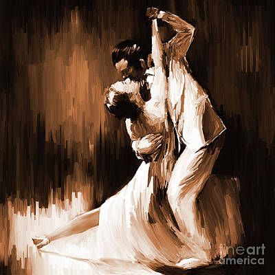 Ballerina Artwork Painting - Tango Couple Dance 01 by Gull G