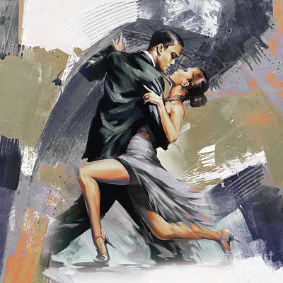 Flamenco Painting - Tango Couple Dance Art 01 by Gull G