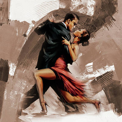 Girls Painting - Tango Couple Dance Art  by Gull G