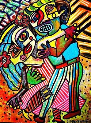 Totem Pole Painting - Tango Dance Of Love by Sandra Silberzweig
