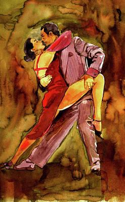 Bandoneon Wall Art - Painting - Tango Dancers by Marcelo Neira