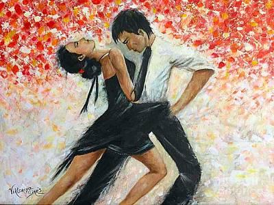 Pallet Knife Painting - Tango Dancers by Viktoriya Sirris