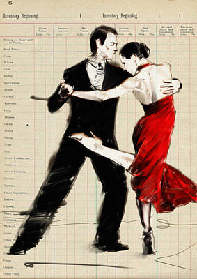 Passion Drawing - Tango In Black And Red by H James Hoff