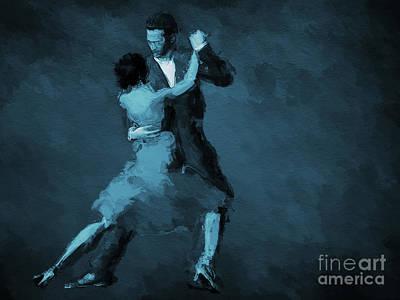 Argentina Digital Art - Tango In Blue by John Edwards