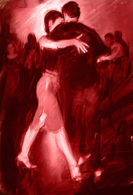 Passion Drawing - Tango In Red by H James Hoff