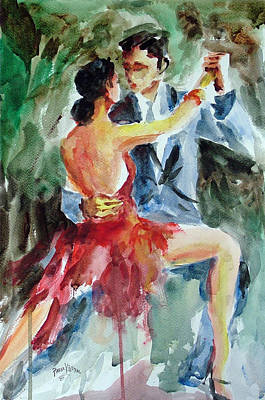Art Print featuring the painting Tango In The Night by Faruk Koksal