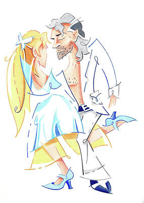 Drawing - Tango Nuevo - Gancho Step - Dancing Illustration by Arte Venezia