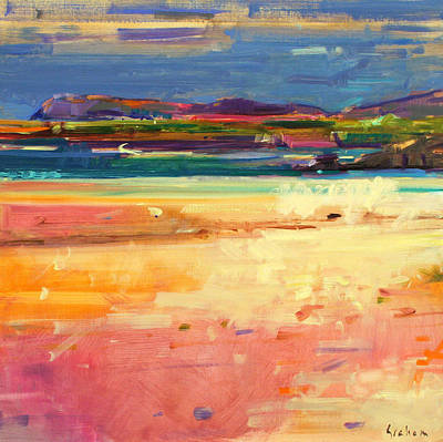 Yellow And Purple Painting - Tangusdale  Barra by Peter Graham