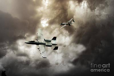 A-10 Digital Art - Tank Busters by J Biggadike