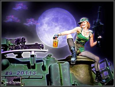 Painting - Tank Gal Preparing For Battle by Jon Volden