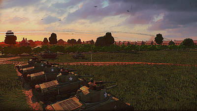 Painting - Tank Platoon In Normandy by Andrea Mazzocchetti