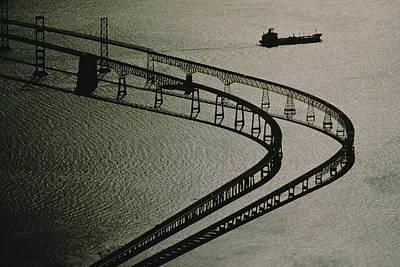 Tanker And Chesapeake Bay Bridge Print by Skip Brown
