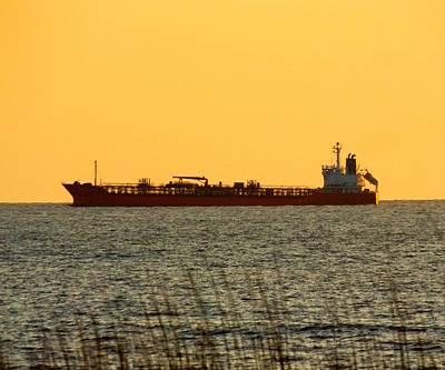 Tanker At Sunrise Art Print