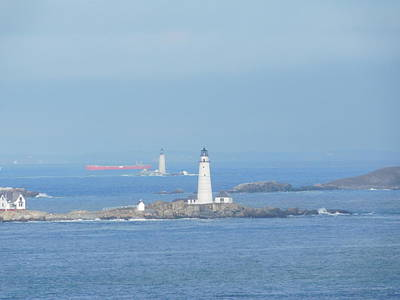 Photograph - Tanker Sailing Past Lighthouses by Catherine Gagne
