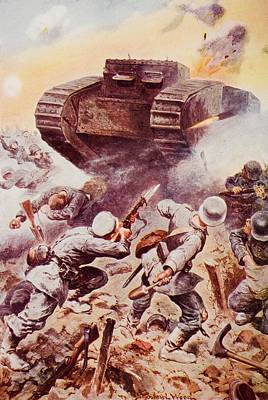 Tanks In Action. By Stanley Wood, From Art Print by Vintage Design Pics