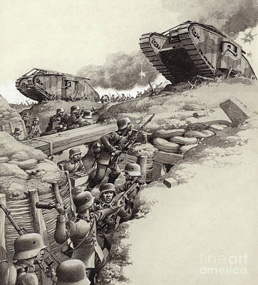 Trench Warfare Painting - Tanks Roll Over German Trenches During The Great War  by Pat Nicolle