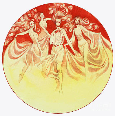 Red And Yellow Painting - Tannhauser And Venus by Ron Embleton