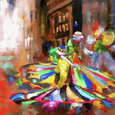 Painting - Tanoura Dance 449 I by Mawra Tahreem