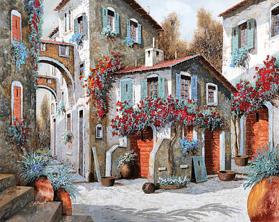 Red Door Painting - Tanti Tanti Fiori by Guido Borelli