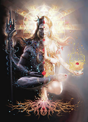 Shiva Digital Art - Tantric Marriage by George Atherton