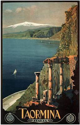 Mixed Media - Taormina, Italia - Italy - Retro Travel Poster - Vintage Poster by Studio Grafiikka