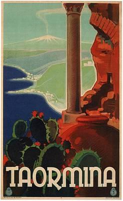 Mixed Media - Taormina, Italia - Sicily, Italy - Retro Travel Poster - Vintage Poster by Studio Grafiikka