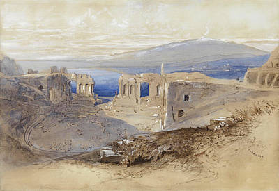 Drawing - Taormina. Sicily by Edward Lear