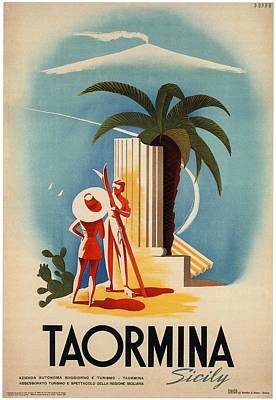 Mixed Media Royalty Free Images - Taormina, Sicily, Italy - Couples - Retro travel Poster - Vintage Poster Royalty-Free Image by Studio Grafiikka