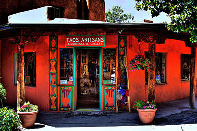 City Streets Photograph - Taos Artisans Gallery by David Patterson