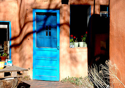 Art Print featuring the photograph Taos Blue Door by Kathleen Stephens