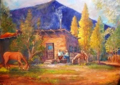 Lynn Burton Wall Art - Painting - Taos Cowboys by Lynn Burton