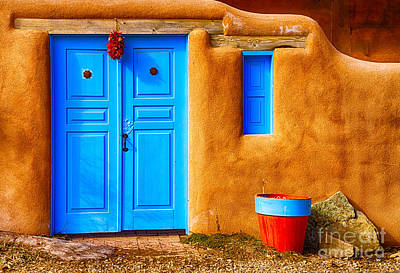 Ristra Digital Art - Taos Doorway by Jerry Fornarotto