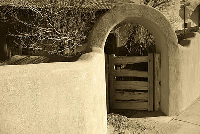Photograph - Taos Gate In Sepia by Kathleen Stephens
