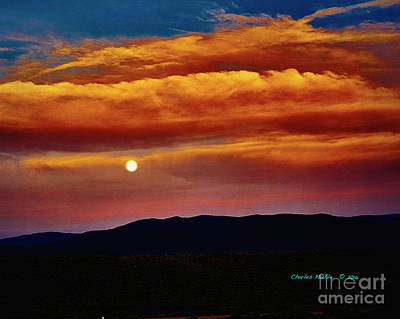 Photograph - Taos Moonrise by Charles Muhle