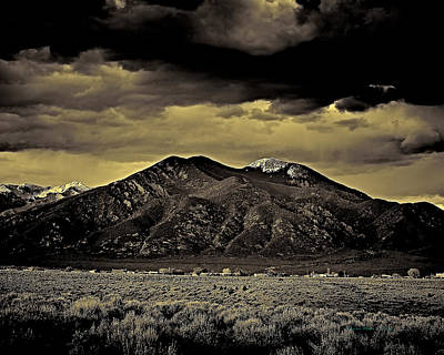 Photograph - Taos Mountain In Gold Tone by Charles Muhle