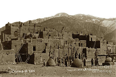 Photograph - Taos Pueblo. 1878. New Mexico. Photo By B.h. Guernsey. by California Views Mr Pat Hathaway Archives