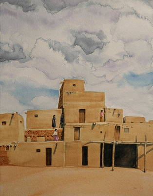 Painting - Taos Pueblo 1990 by Michele Myers