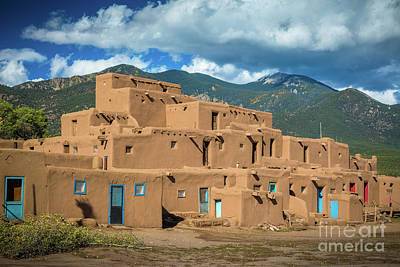 Photograph - Taos Pueblo And Pueblo Peak by Inge Johnsson