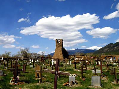 Southwestern Digital Art - Taos Pueblo Cemetery by Kurt Van Wagner