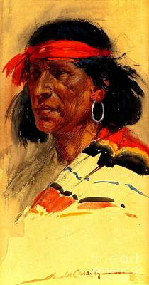 American Watercolor Society Painting - Taos Pueblo Indian Circa 1918 by Peter Gumaer Ogden