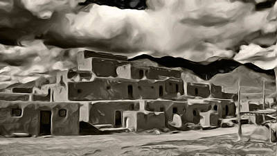 Art Print featuring the photograph Taos Pueblo by Lou  Novick