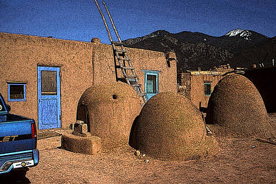 Drawing - Adobe Taos Pueblo - New Mexico Artwork by Peter Potter