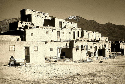 Pueblo Drawing - Taos Pueblo New Mexico - Ink by Art America Gallery Peter Potter