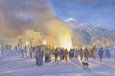 People Painting - Taos Pueblo On Christmas Eve by Jane Grover