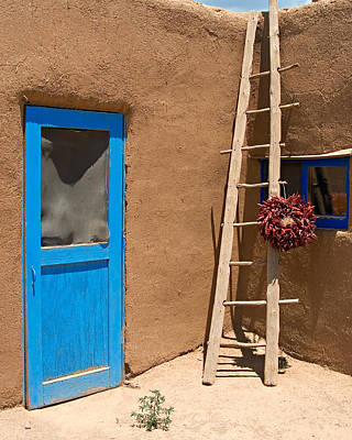 Ristra Photograph - Taos Pueblo Scene by George Oze